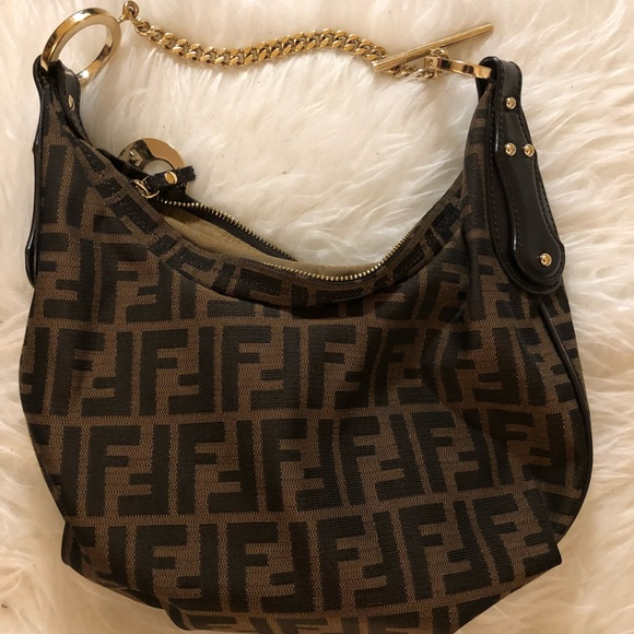217bf68306cf Fendi Handbags - Authentic Fendi Zucca Hobo Brown and Gold chain